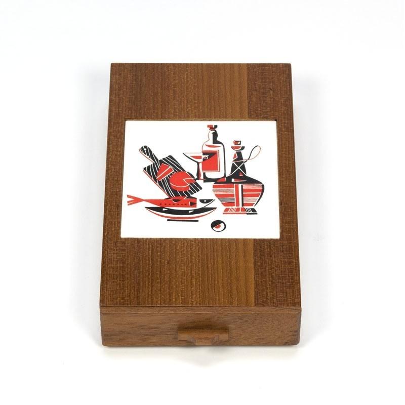 Vintage teakhouten doosje met tegel en opener