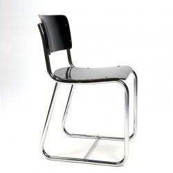Vintage chromen buisframe stoel met zwarte zitting