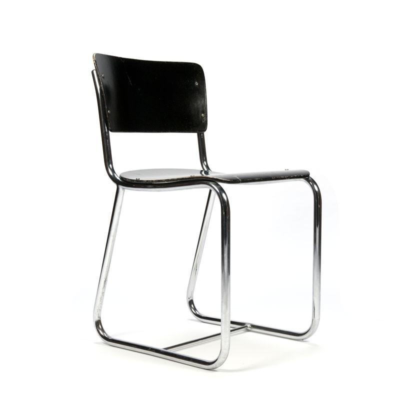 Vintage chrome tubular frame chair with black seat