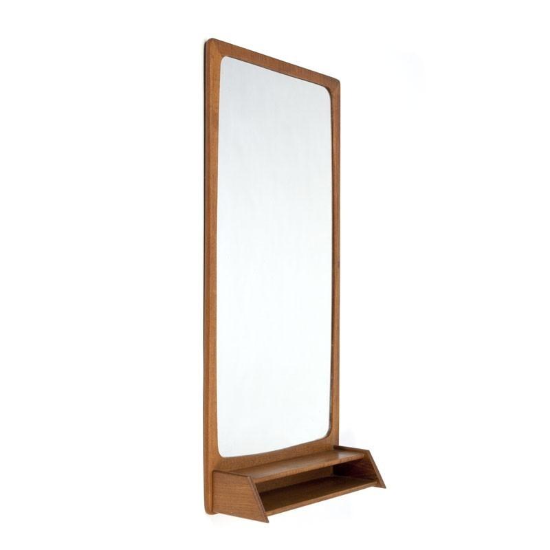 Teakhouten vintage spiegel met vakje uit Denemarken