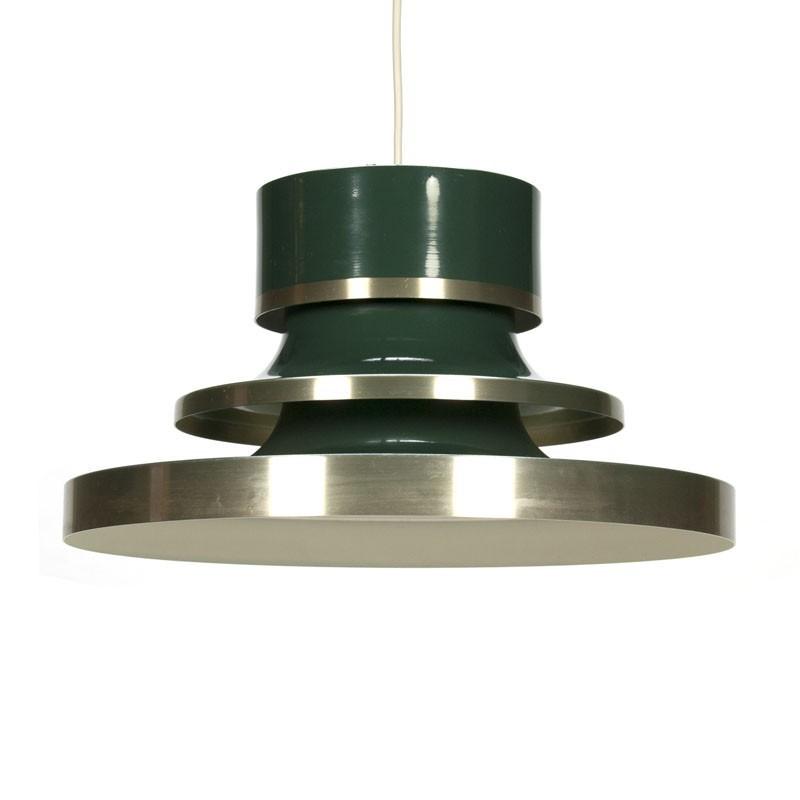 Vintage Deense hanglamp groen metaal