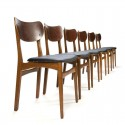 Six teak dining table chairs vintage Danish design