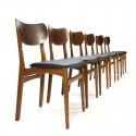 Zes teakhouten eettafel stoelen vintage Deens design