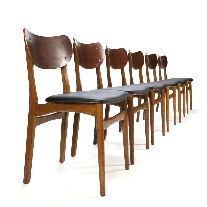 Retro Design Stoelen.Six Teak Dining Table Chairs Vintage Danish Design Retro