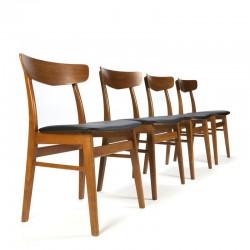 Teakhouten set van 4 Deense vintage stoelen