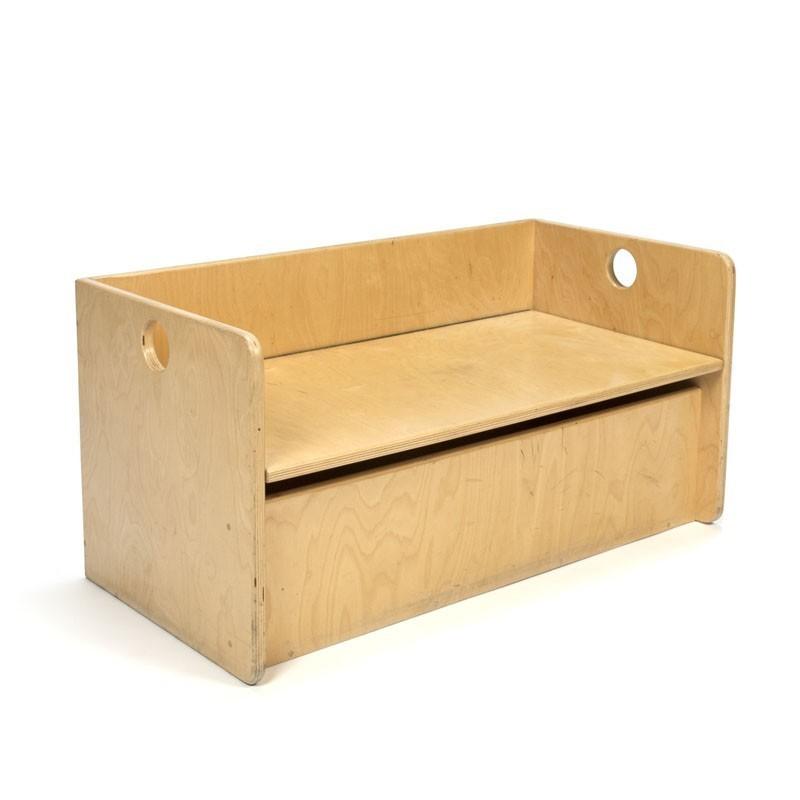 Vintage Cubist storage bench for children