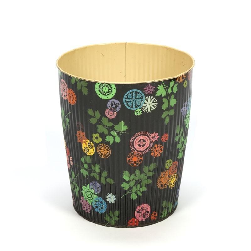 Vintage colored metal wastebasket
