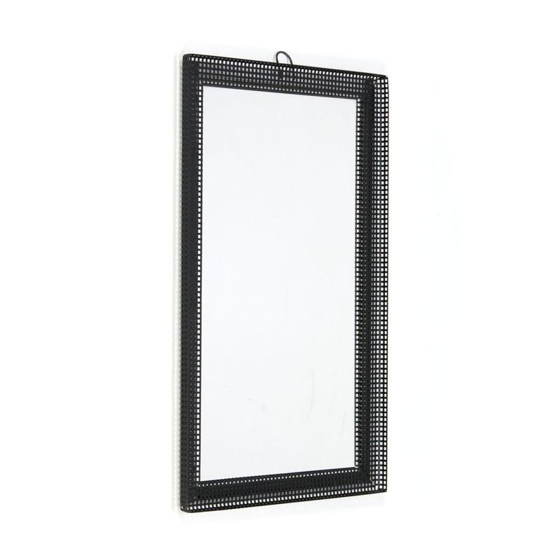 Perforated black metal vintage mirror