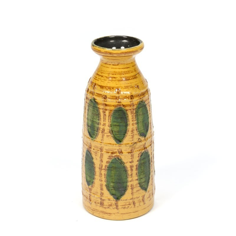 Vintage yellow/ green vase of pottery