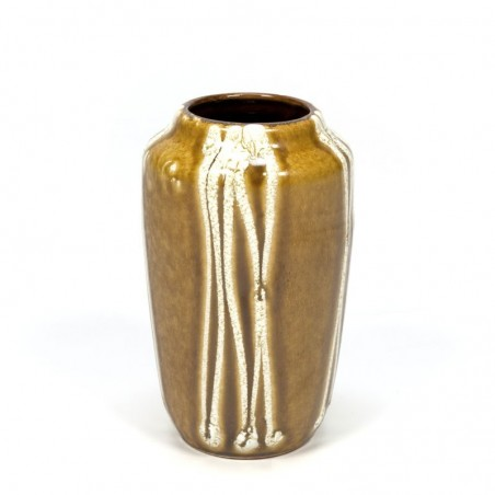 Vintage earthenware vase ocher colored