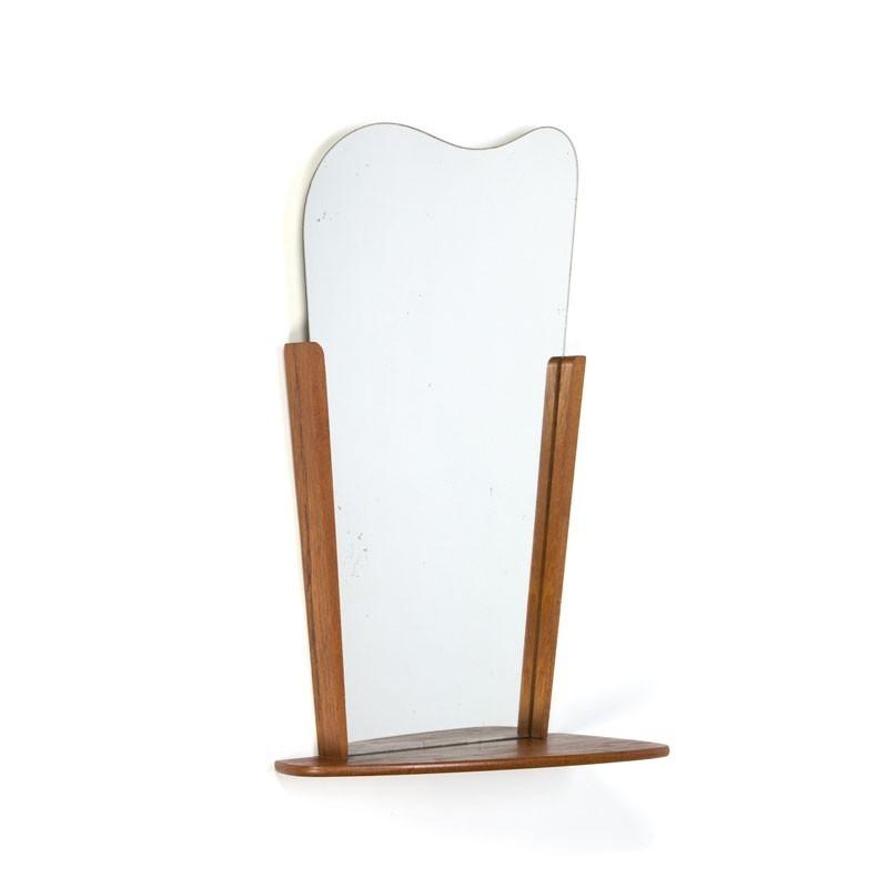 Teakhouten vintage Deense spiegel met plankje
