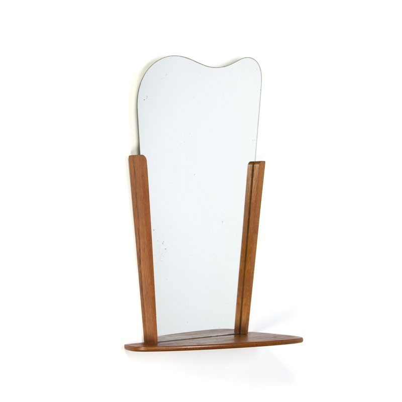 Vintage Danish Teak mirror with shelf