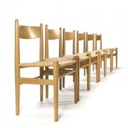 Vintage set van zes CH 36 stoelen ontwerp Hans Wegner