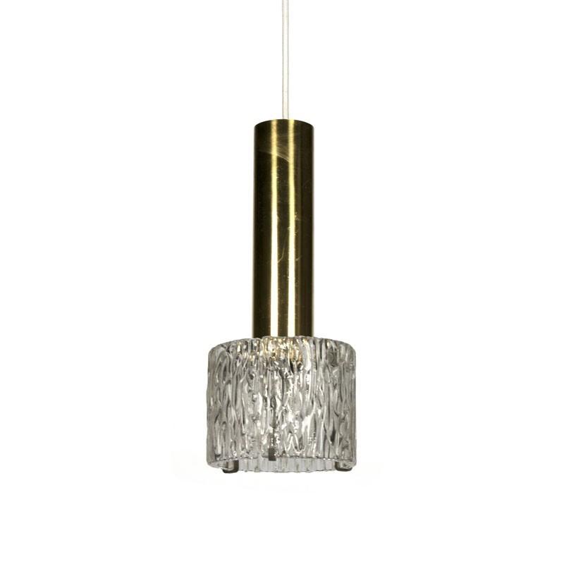 Messing vintage hanglamp met dik glas