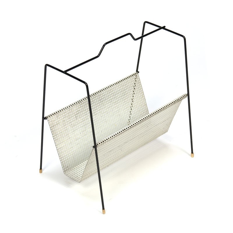 Perforated metal newspaper rack vintage