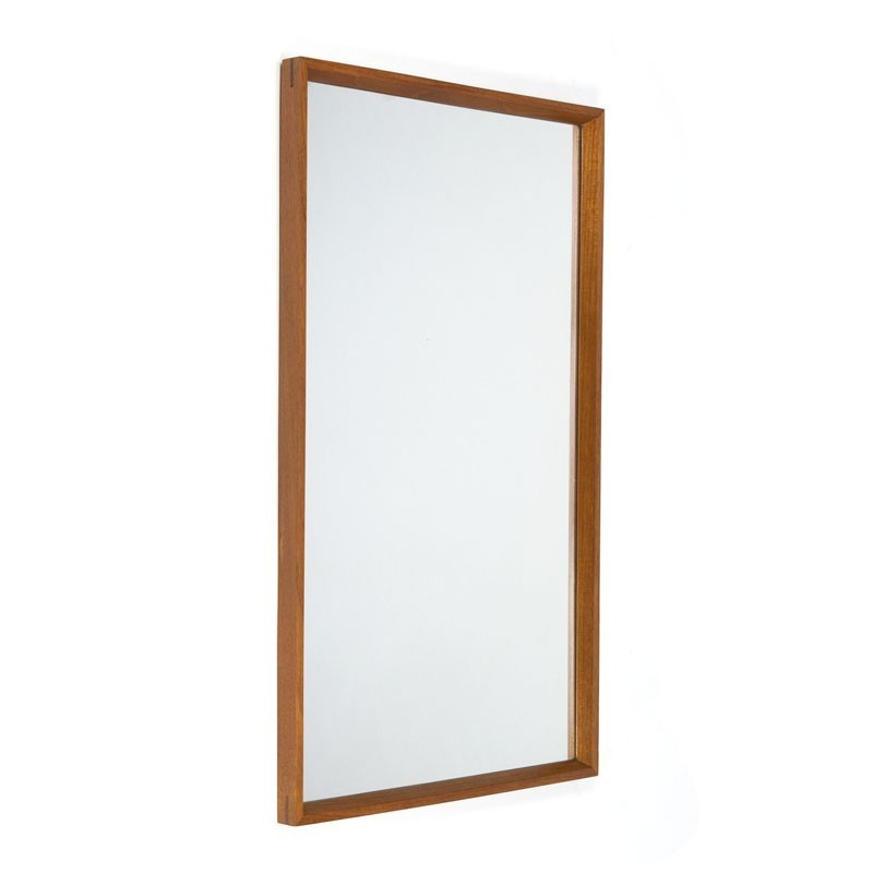 Teak rectangular Danish vintage mirror