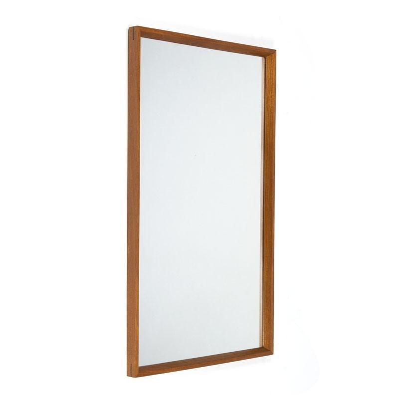 Teakhouten rechthoekige Deense vintage spiegel