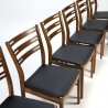 Danish vintage set of 6 teak wooden Farstrup chairs