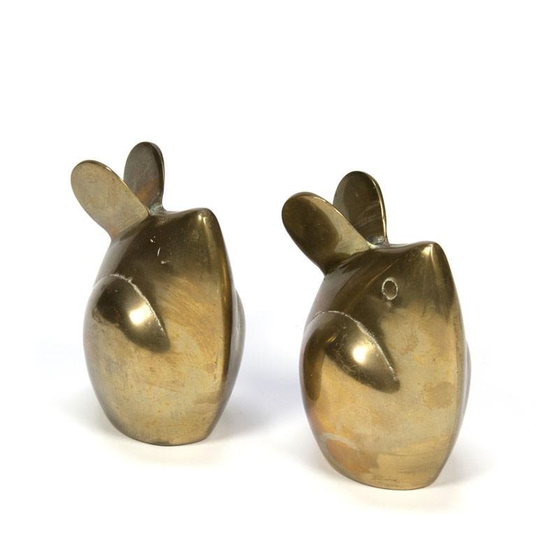 Set of 2 vintage brass mice
