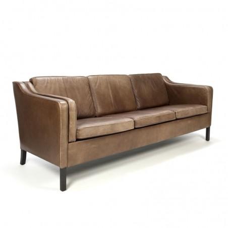 Brown leather danish vintage design three-seat sofa