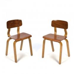 Vintage set plywood stoeltjes voor kinderen