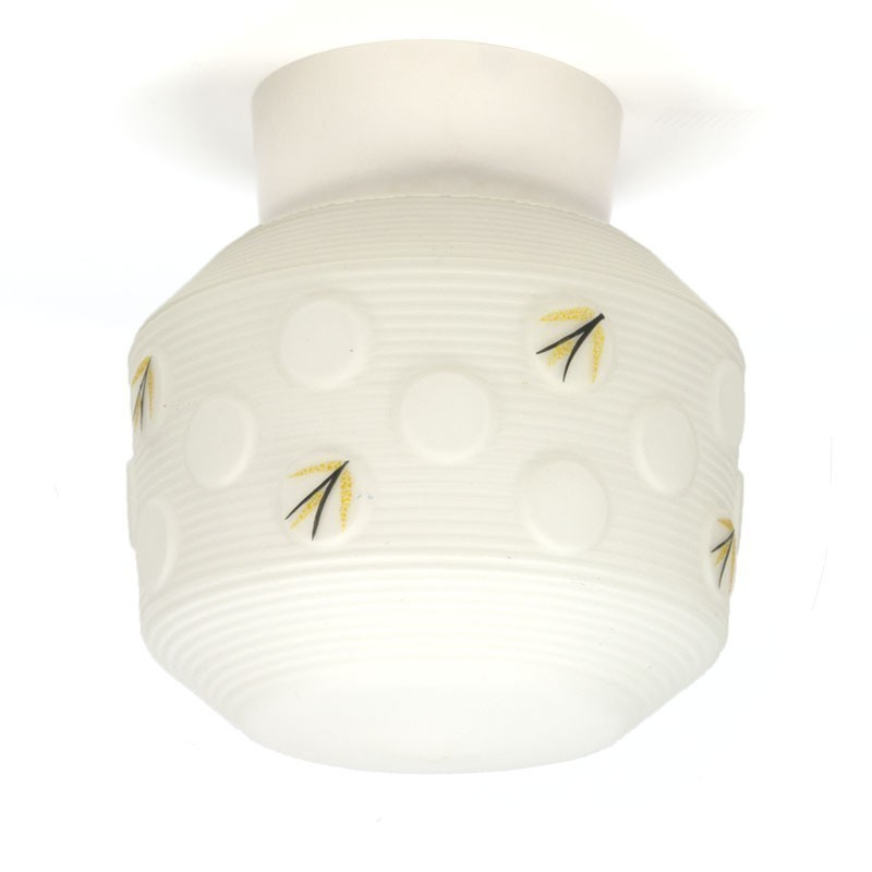 Vintage glazen jaren vijftig plafondlamp