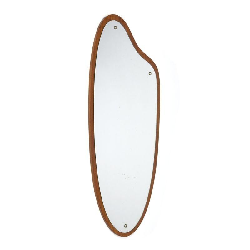 Large Danish vintage mirror with organic design