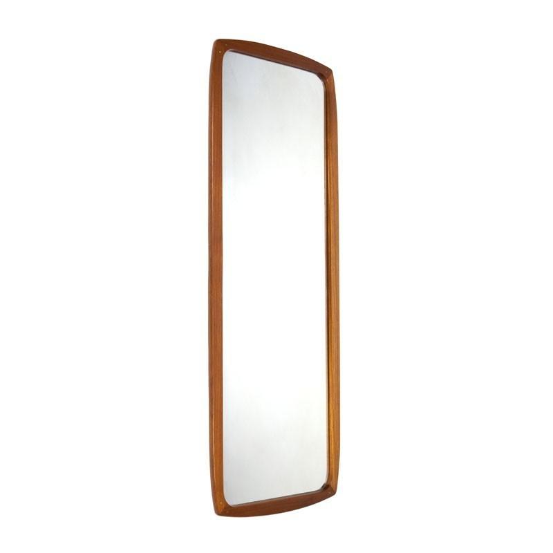 Large model Danish teak wooden vintage mirror