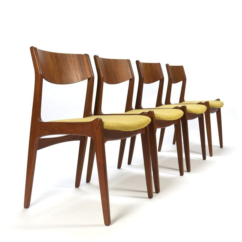 Danish vintage teak set of 4 dining chairs