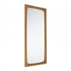 Deense eiken rechthoekige vintage spiegel