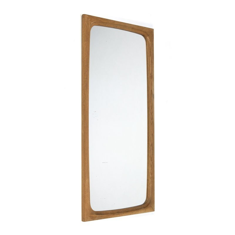 Danish oak rectangular vintage mirror