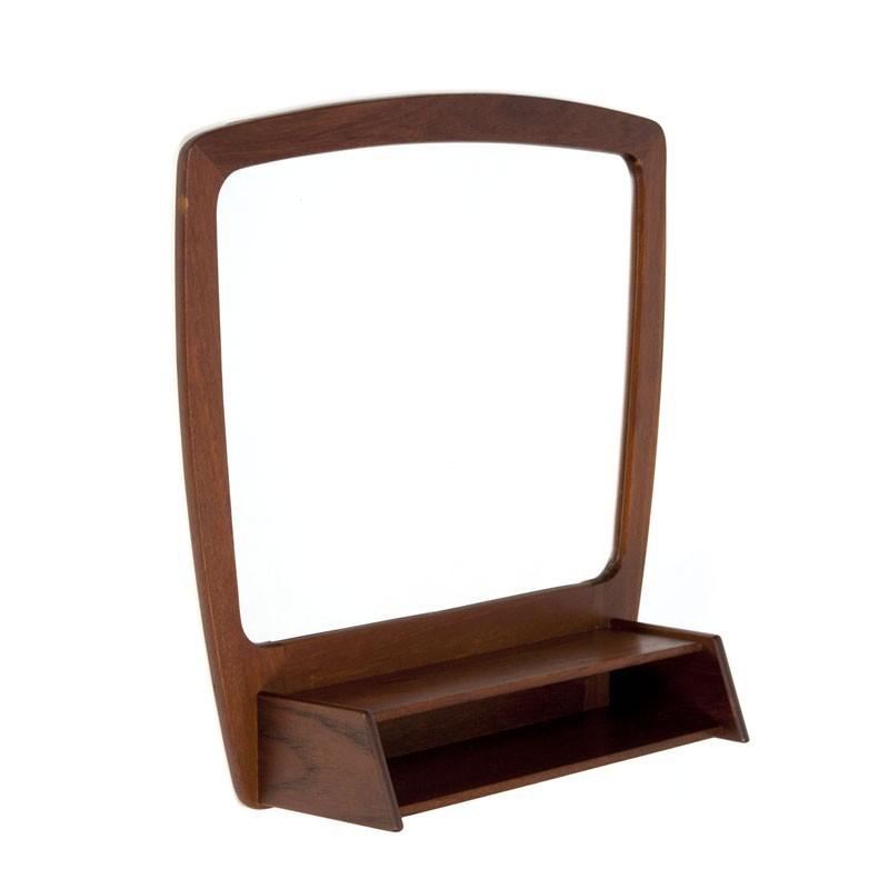 Teakhouten vintage Deense spiegel met vakje