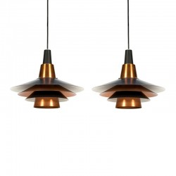 Vintage set Scandinavische hanglampen messing en zwart metaal