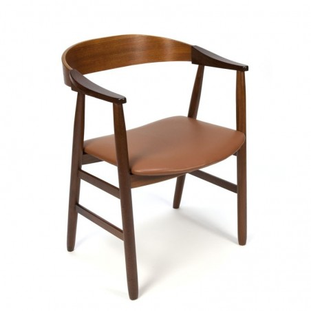 Danish vintage desk chair with cognac colored lining