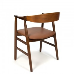 Deense vintage bureaustoel met cognac kleurige bekleding