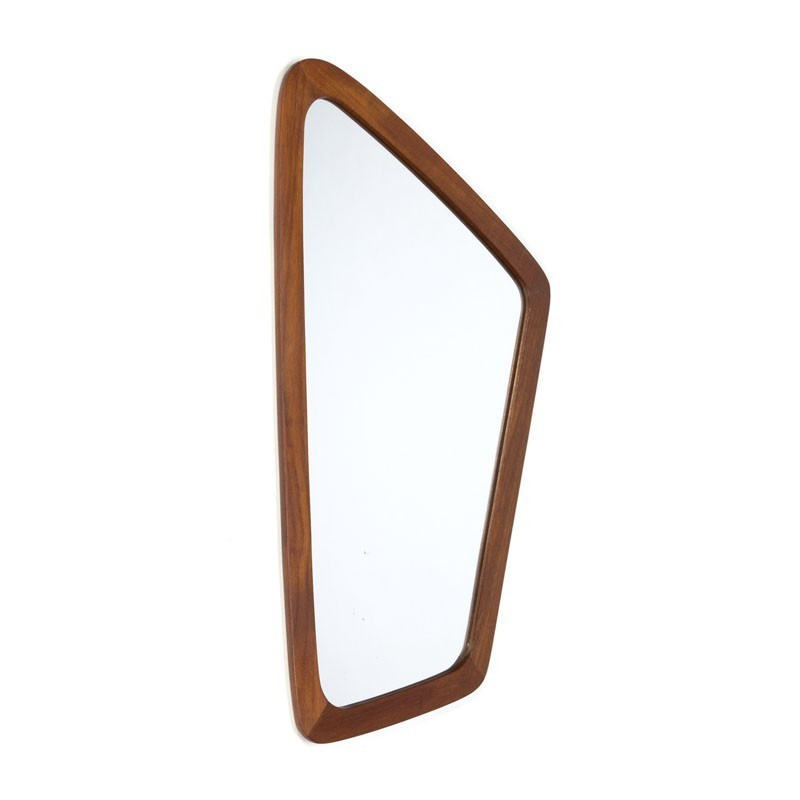 Vintage teak wooden organically shaped mirror