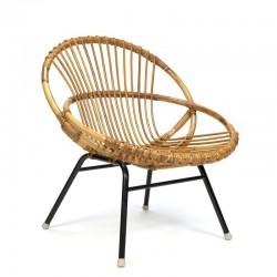 Vintage kleine rotan fauteuil