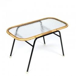 Vintage small rattan table