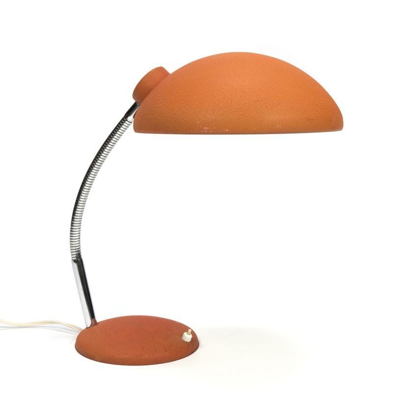 Vintage bureaulamp zalmkleurig