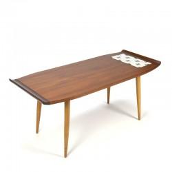 Teak vintage coffee table with small tile tableau