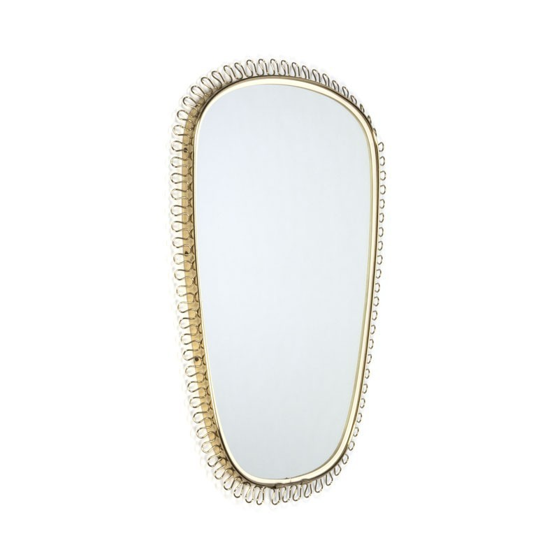 Vintage mirror with brass loop edge