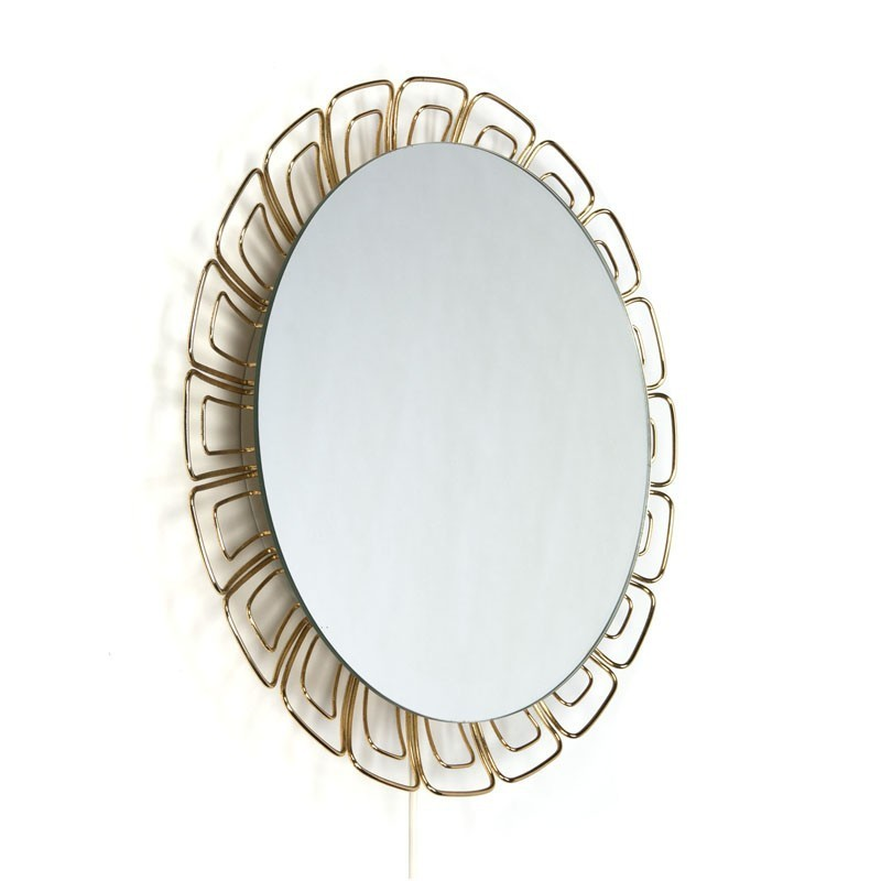 Vintage spiegel met lamp en messing details