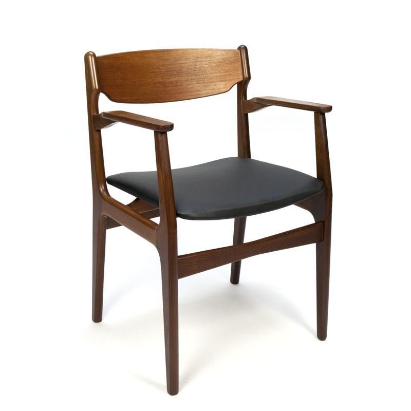 deense teakhouten vintage stoel met armleuning