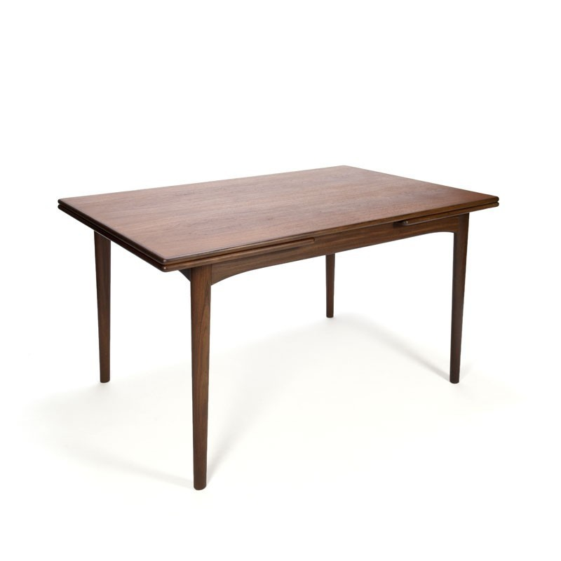 Danish dark teak wooden vintage extendable dining table