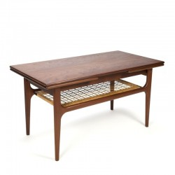 Vintage Danish extendable coffee table with wicker detail