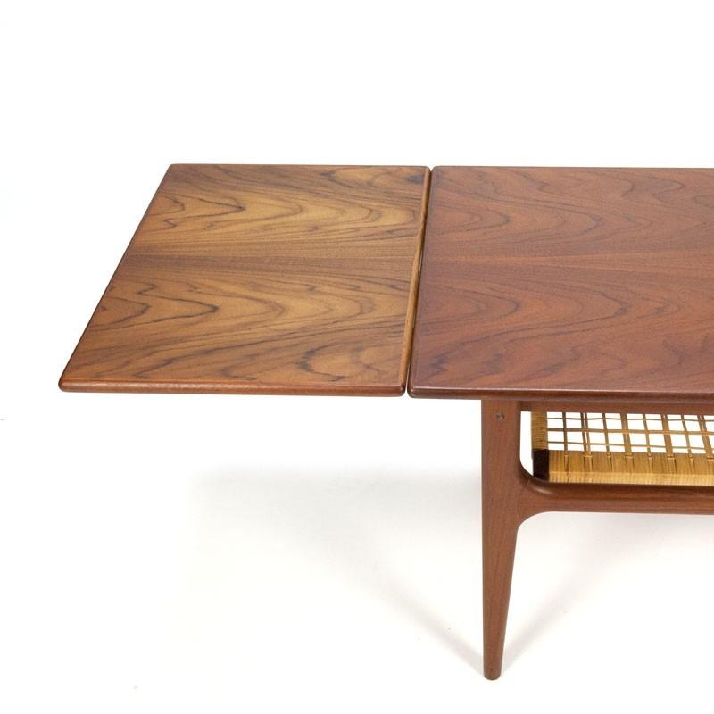 Teak Extendable Coffee Table: Vintage Danish Extendable Coffee Table With Wicker Detail