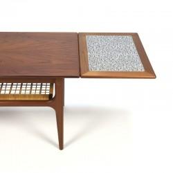 Salon Tafel Uitschuifbaar.Vintage Deense Uitschuifbare Salontafel Met Rieten Detail