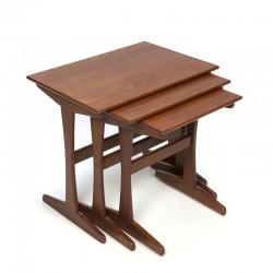 Vintage teak wooden side tables set of 3