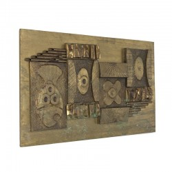 Vintage brass wall panel Brutalist style
