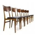 Vintage Danish set of 6 dining chairs in teak